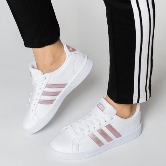 adidas women's advantage stripe sneaker rose gold cheap online